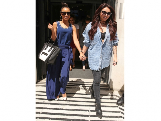 Jesy Nelson and Leigh-Anne Pinnock outside the BBC Radio 2 studios in London