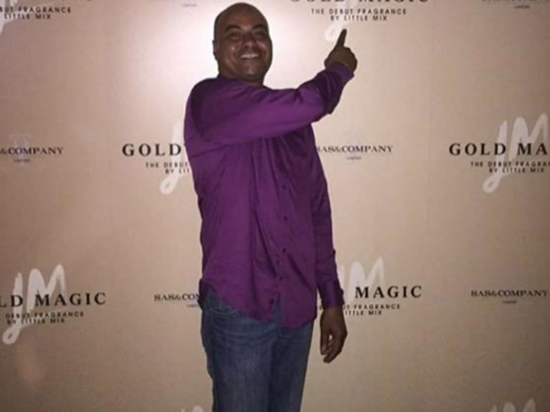 Leigh-Anne Pinnock's dad at the launch of Little Mix's Gold Magic perfume