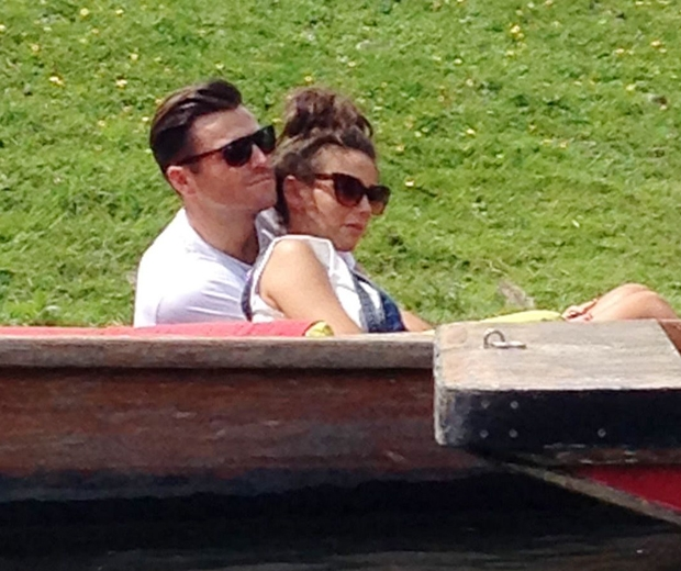 Michelle Keegan and mark wright punting in cambridge
