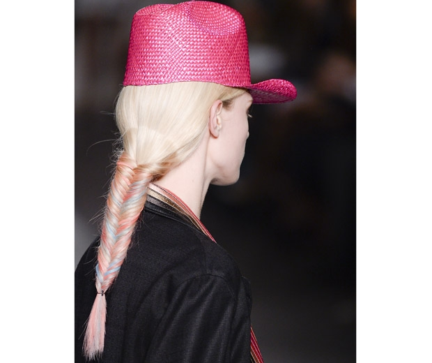 Multi-coloured fishtail plaits at Michael De Vincenzo