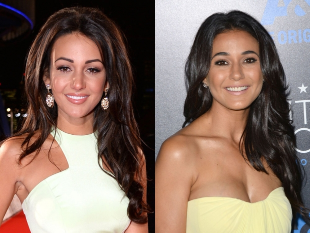 Emmanuelle Chriqui and Michelle Keegan in yellow dresses