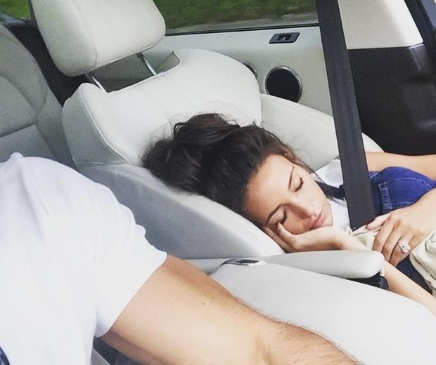 michelle keegan asleep in the car