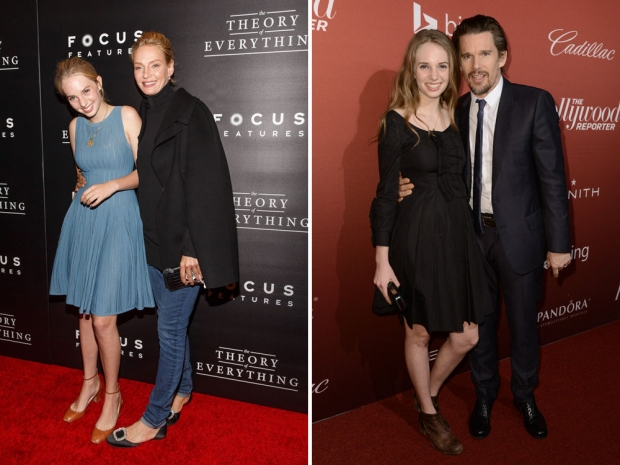 Maya Thurman-Hawke with parents