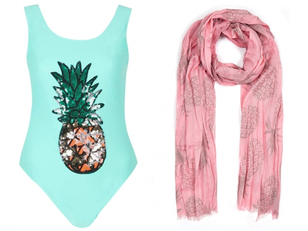 Sequin Pineapple Swimsuit by Rare, £35 & M&S Pineapple Print Scarf, £18