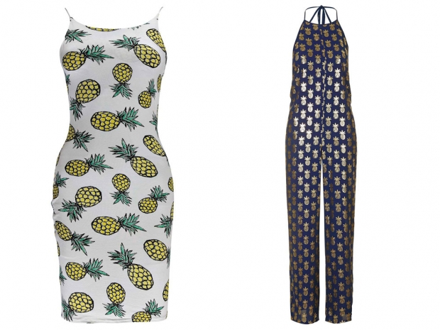 Boohoo Pineapple Print Dress, £12 & Topshop Foil Pineapple Print Jumpsuit, £40