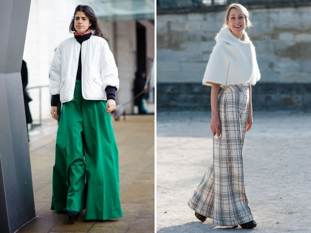 Leandra Medine and a street styler wearing palazzo pants in winter.