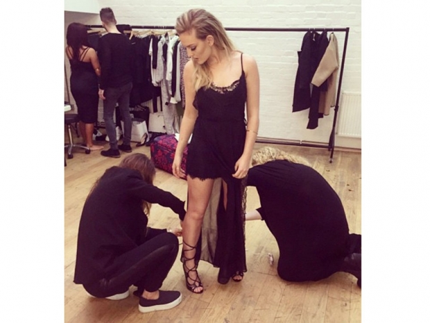 Perrie Edwards behind the scenes of Little Mix's Gold Magic shoot