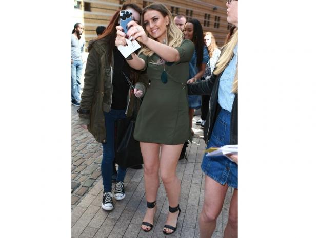 Perrie Edwards wears khaki in Birmingham