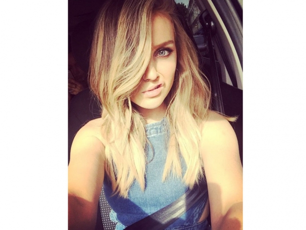 Perrie Edwards wearing denim dungarees on Instagram