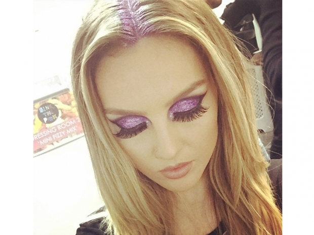 Perrie Edwards with purple body and hair glitter in Instagram photo
