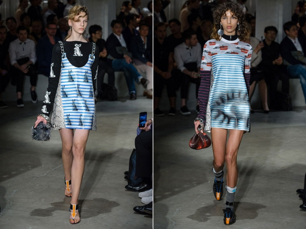 Two of the looks from the Prada show.