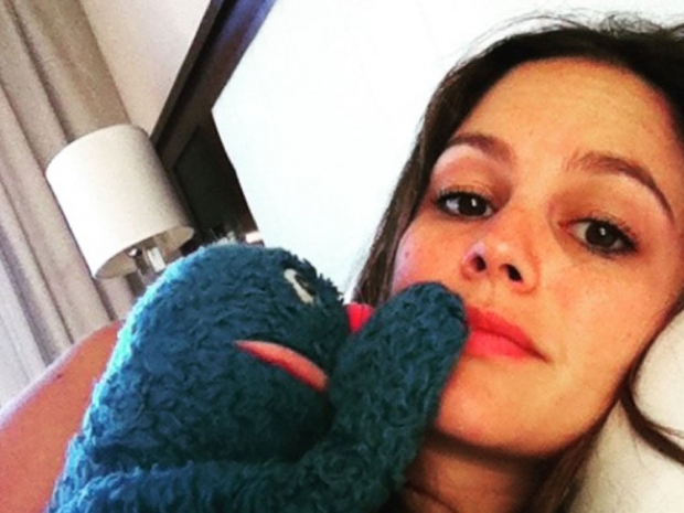 Rachel Bilson's photo with Sesame Street character Grover on Instagram