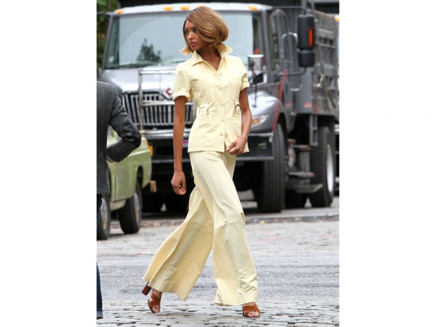Jourdan Dunn wearing palazzo pants and a matching shirt.