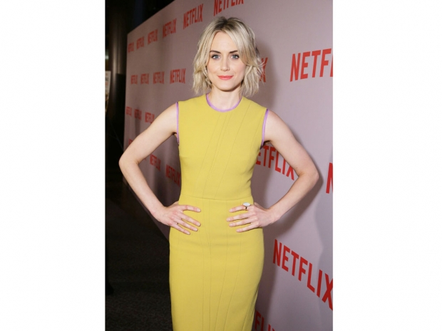Taylor Schilling wearing yellow (not orange!)
