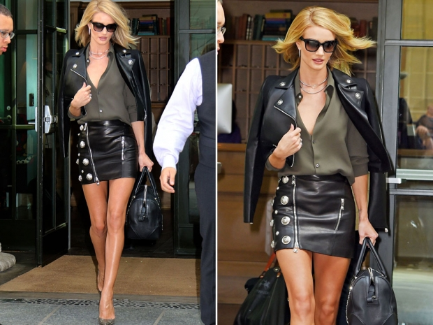 Rosie Huntington-Whiteley rocking double leather.
