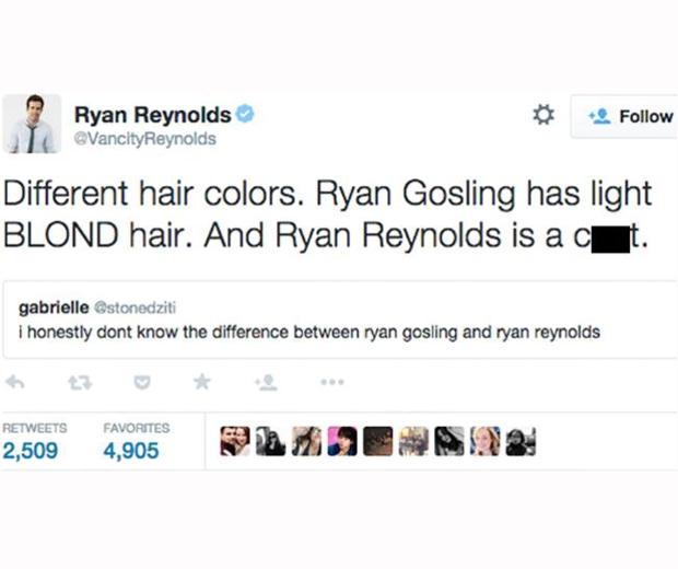 ryan reynolds tweets about ryan gosling