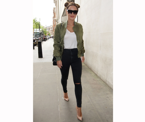 TOWIE's Sam Faiers skinny black jeans with a khaki shirt