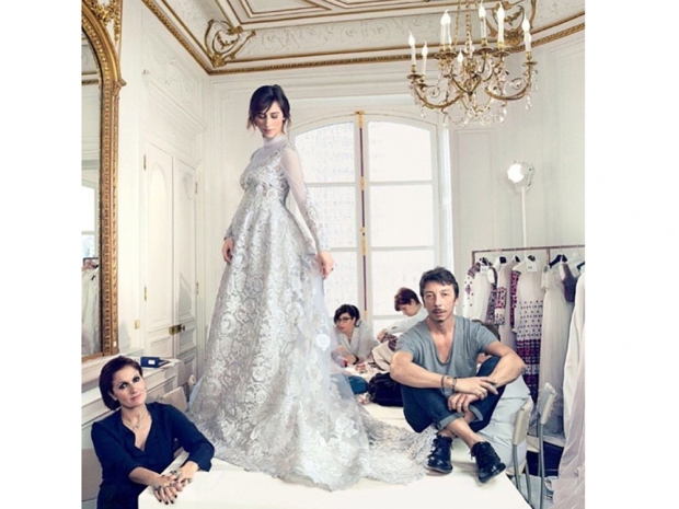 Sophie Hunter's stunning Valentino wedding gown came in silver lace