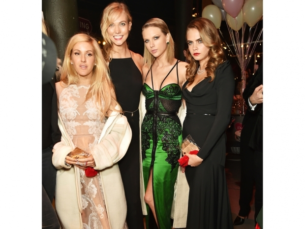 Ellie Goulding and Taylor Swift with cara delevingne and karlie kloss