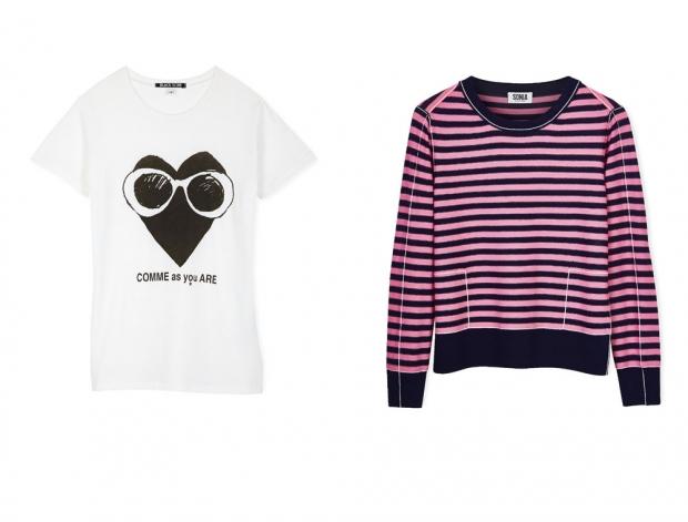Black Score's t-shirt and Sonia Rykiel's striped knit