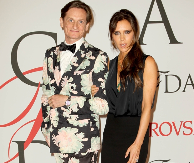Victoria Beckham at the CFDAs with Vogue's editor at large, Hamish Bowles