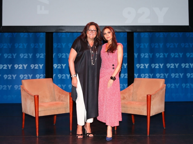 Victoria Beckham and Fern Mallis at a fashion event in New York