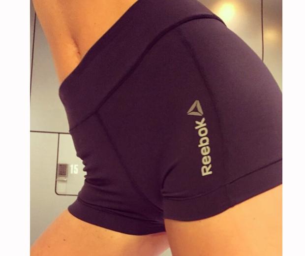 abbey clancy in tight reebok sports shorts