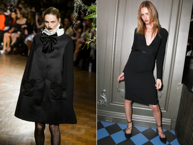 Andreja Pejic on the Giles catwalk (L) and at a New York Fashion Week event (L)