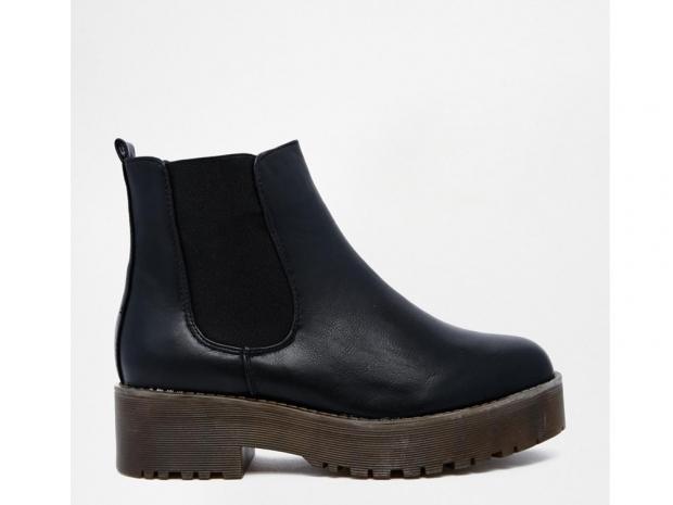 Glamorous Black Flatform Chelsea Boots, £30