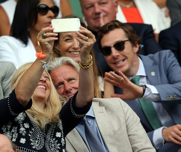 Benedict Cumberbatch photobombs Mr and Mrs Bjorn Borg in the Royal box