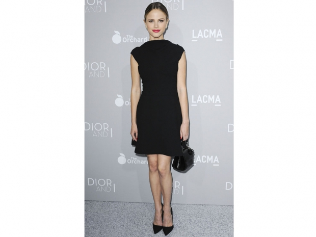 Halston Sage in an LBD on the red carpet.