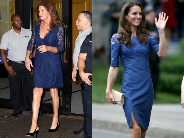 Caitlyn Jenner and Kate Middleton in lacy blue dresses
