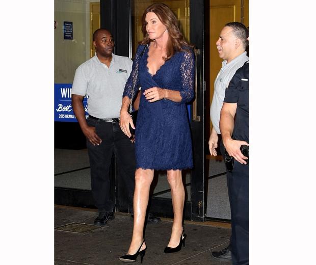 caitlyn jenner in navy blue wrap dress
