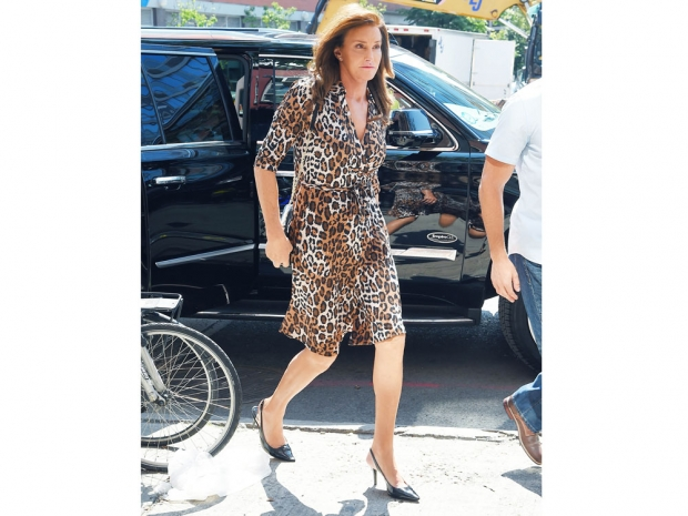Caitlyn Jenner in a leopard print dress out in New York