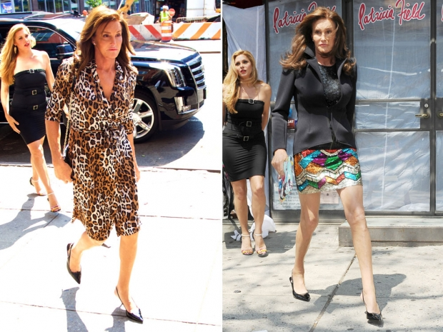 Caitlyn Jenner entering the shop in a DVF dress and emerging in a sparkly skirt.