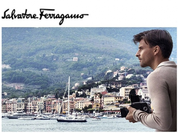 Johannes Huebl in his Salvatore Ferragamo campaign.