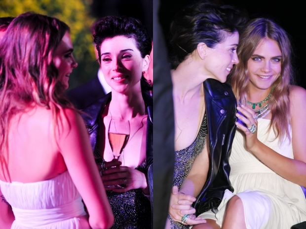Cara Delevingne and St Vincent cosying up at Cannes last month