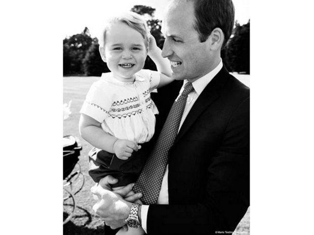 Prince William and Prince George at the Christening