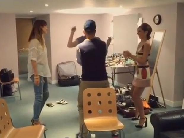 Cheryl Fernandez-Versini dancing backstage at The X Factor