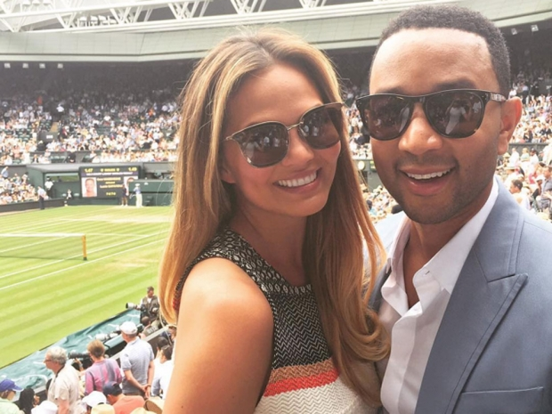 Chrissy Teigen and John Legend at Wimbledon