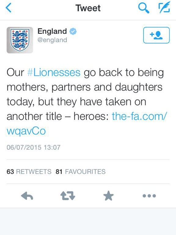 The Lionesses were welcomed home with this sexist tweet from the FA