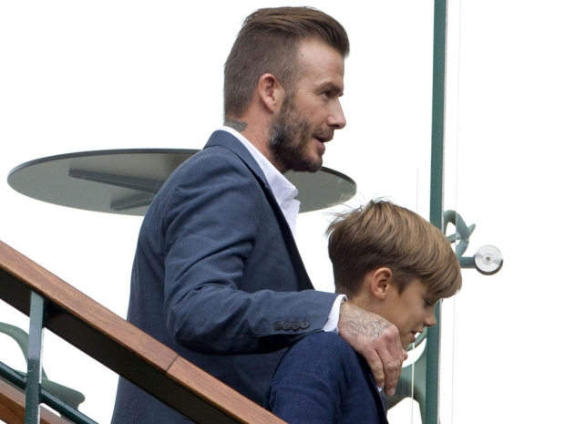 David Beckham and Romeo Beckham at Wimbledon
