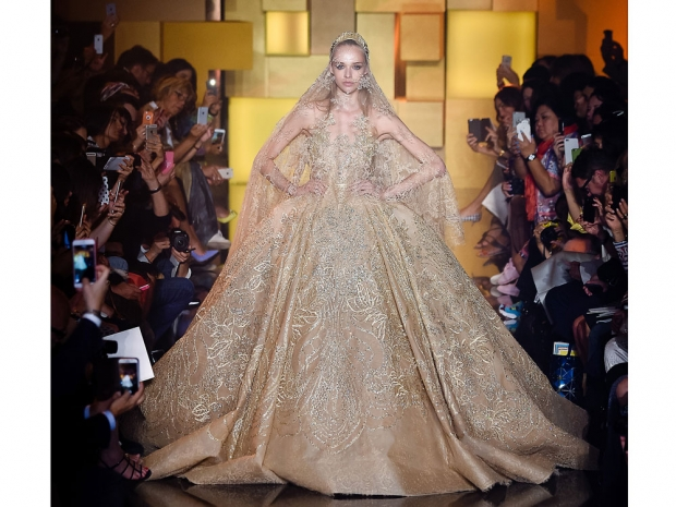 Elie Saab's finale dress on yesterday's catwalk.