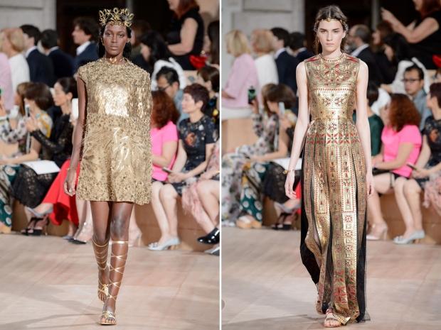Gold Roman dreams on the Valentino catwalk.