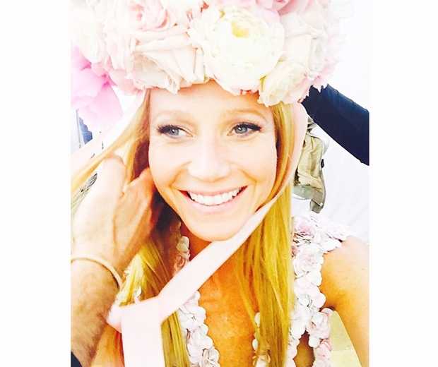 gwyneth paltrow with floral headband for harpers bazaar