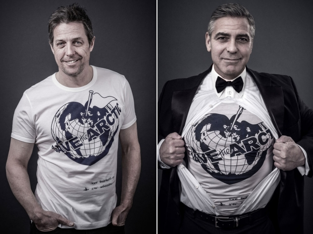 Hugh Grant and George Clooney in the Save The Arctic Campaign.