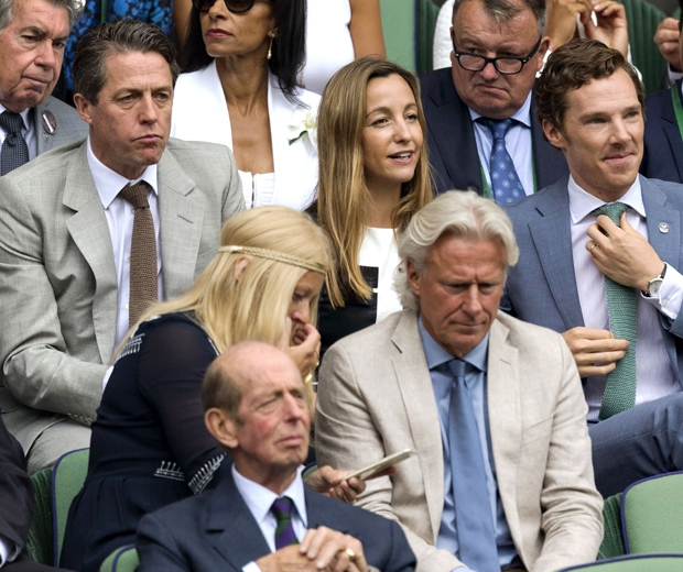 Anna Elisabet Eberstein at wimbledon with hugh grant