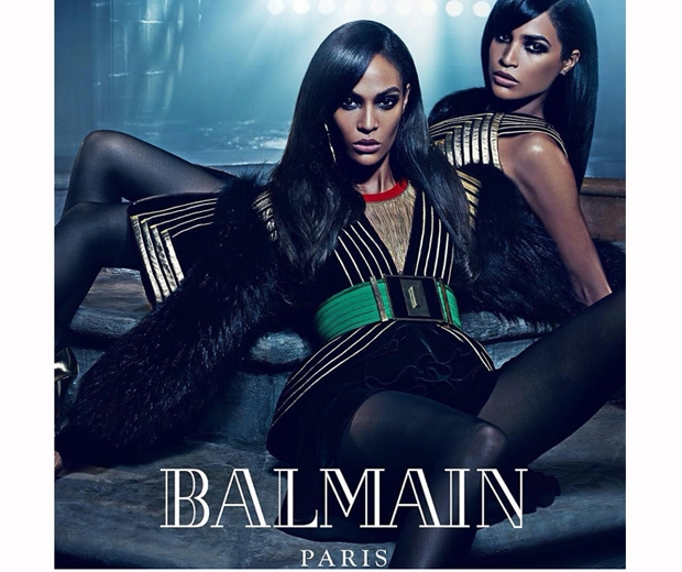 Joan and Erika Smalls smoulder in their moody Balmain AW15 ad