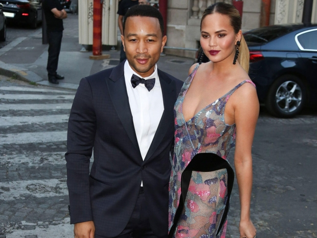 John Legend and Chrissy at PFW 2015