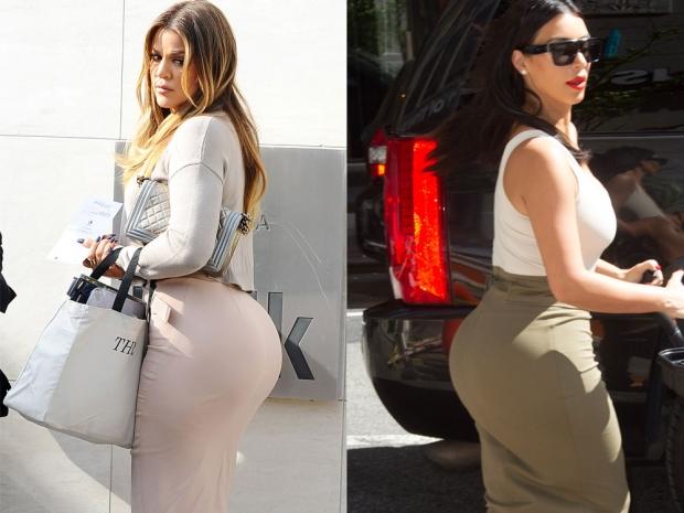 Khloe Kardashian and Kim Kardashian bums